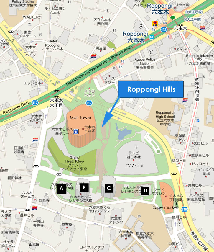 Roppongi Hills Map JAPAN PROPERTY CENTRAL
