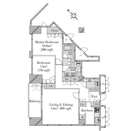 Motoazabu Hills 2F Floor plan