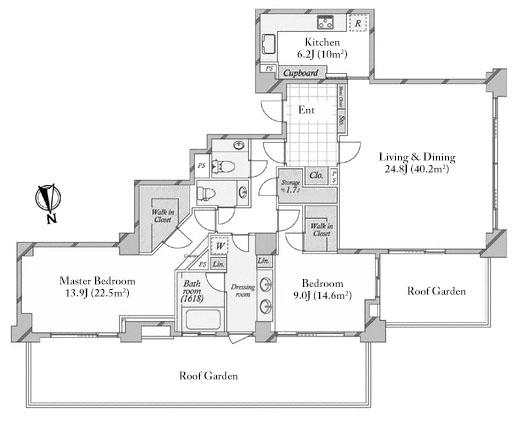 Azabu Kasumicho Park Mansion 7F Floorplan