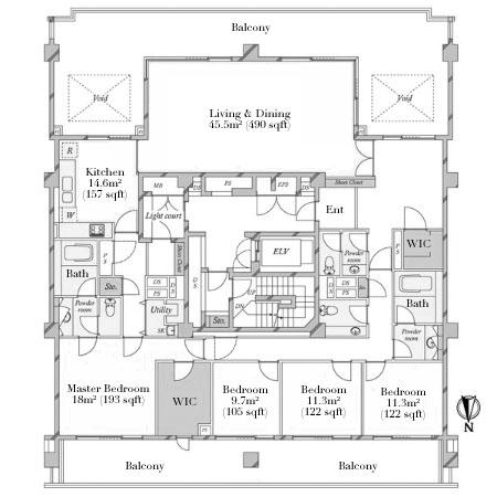 Hiroo Garden Hills South Hill F Penthouse Floorplan