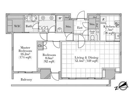 Park Court Roppongi Hilltop 27F Floorplan