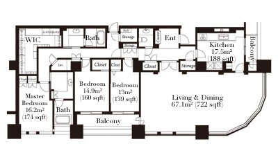 Tokyo Twin Parks Right Wing 47F Penthouse Floorplan