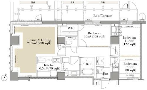 Grand Suite Hiroo 410 Floorplan