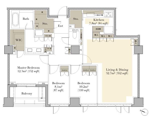 Grand Suite Hiroo 802 Floorplan
