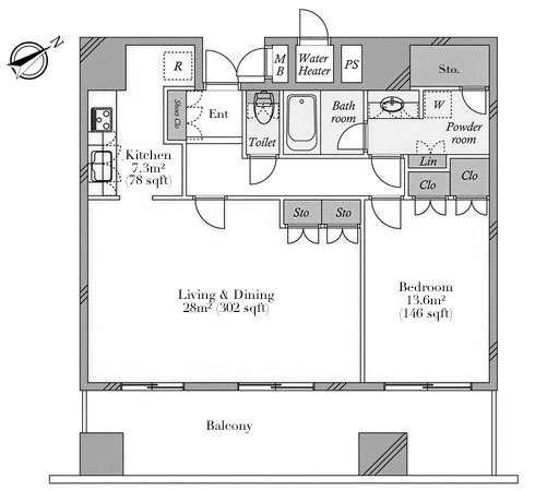 Central Park Tower La Tour Shinjuku 16F Floorplan