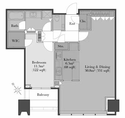 City Tower Azabujuban 23F Floorplan