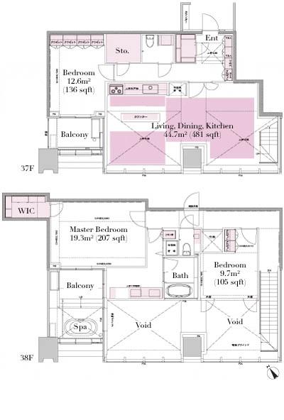 City Tower Azabujuban Penthouse 3705 Floorplan