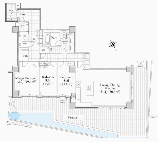 Foretseine Akasaka Hinokizaka 106 Floorplan