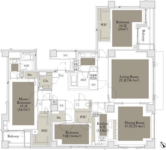 The Parkhouse Gran Minamiaoyama 220A Type Floorplan