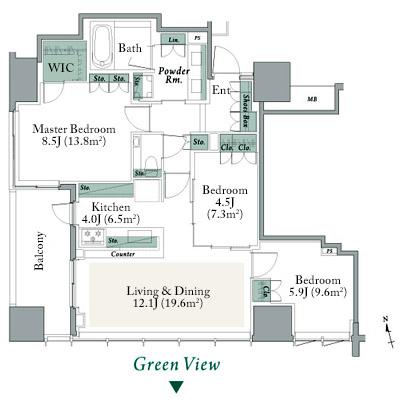 The Parkhouse Shinjuku Gyoen C Type Floorplan