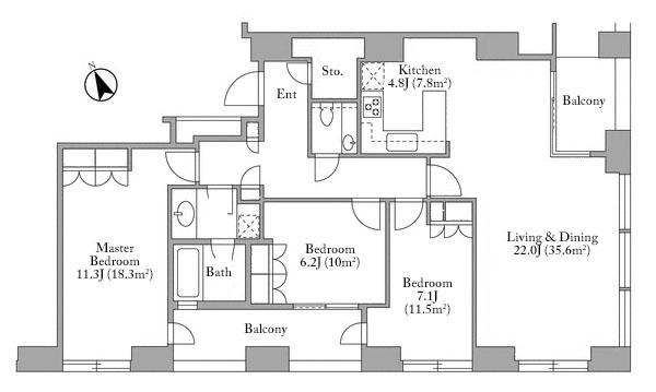 Toranomon Towers Residence 9F Floorplan