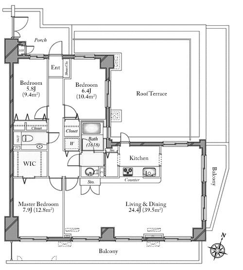 Lupinas Shibuya Sakuragaoka Garden Court 6F Floorplan