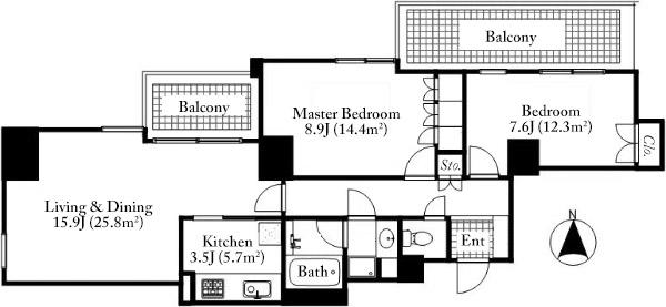 Roppongi Hills Residence D 7F Floorplan