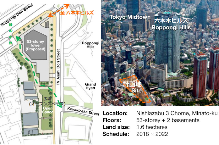 53-storey hotel and residential complex for Nishiazabu