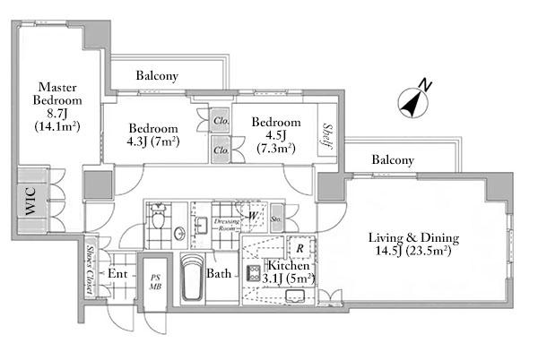 Park House Akasaka Hikawa 13F Floorplan