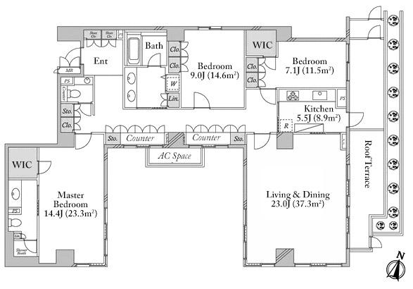 Park House Akasaka Shinsaka 6F Floorplan