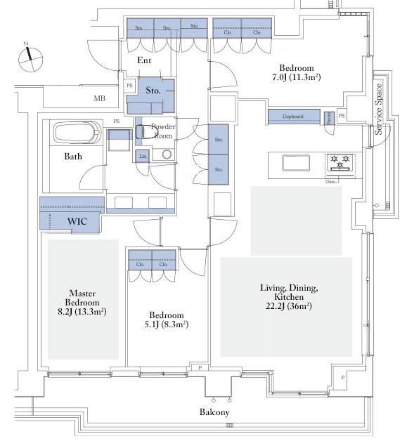 Park Court Motoazabu Hill Terrace 102A Floorplan