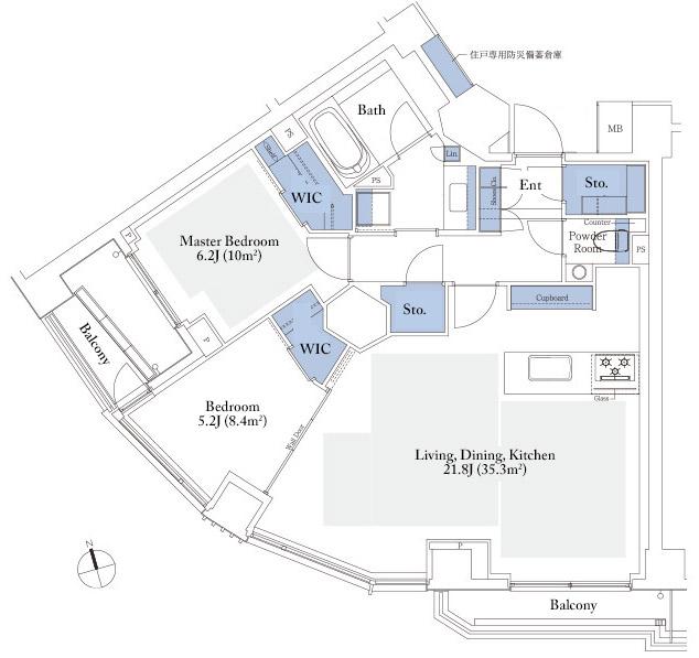 Park Court Motoazabu Hill Terrace 80A Floorplan