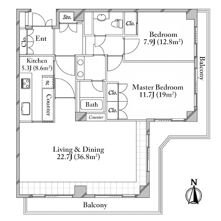 Domus Nishiazabu 2F Floorplan