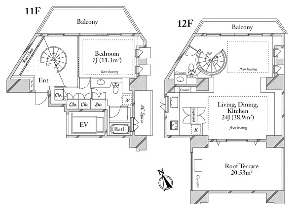 Jingumae City Tower 11 12F Floorplan