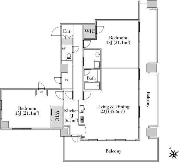 toranomon-hoso-building-residence-13f-1-floorplan