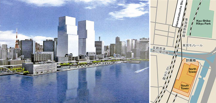 Two 235m towers for Shibaura