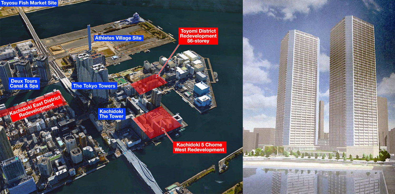 Two new 56-story apartment towers for Kachidoki island