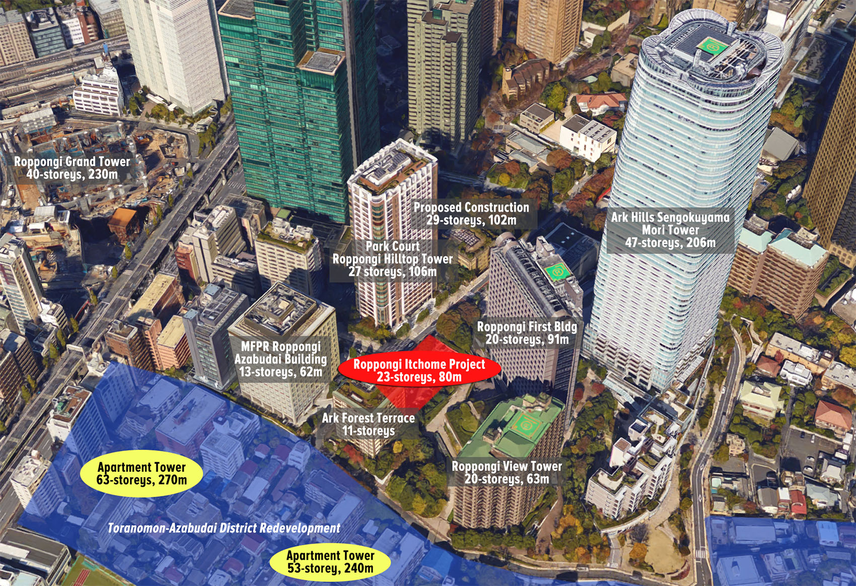 23-storey apartment tower planned for Roppongi Itchome
